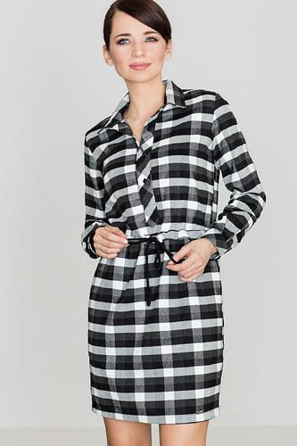 16b821edd68 Lenitif Dámske kockované čierno-biele košeľové šaty s opaskom K256 ...