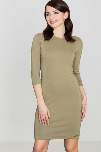 4269587c2266 Lenitif Dámske olivovozelené púzdrové šaty s 3 4 rukávom K317 - Glami.sk