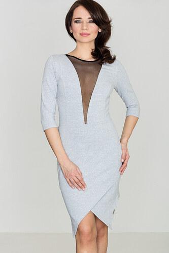259d33627670 Lenitif Dámske šedé asymetrické úpletové šaty so sieťkou na dekolte K320