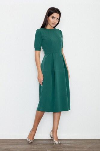 a08a58edc1d5 FIGL Dámske zelené MIDI šaty s krátkym rukávom M553 L - Glami.sk