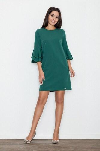 7baaa39c124c FIGL Dámske zelené koktejlové šaty s volánmi na rukávoch M564 - Glami.sk