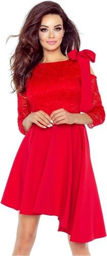 Bergamo Elegantné červené asymetrické šaty s čiipkovaným rukávom NEVA 78-05 1e8238d146d