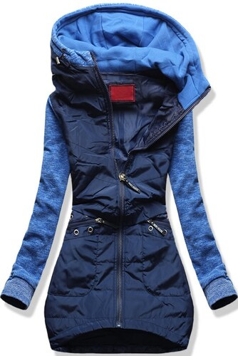 2416debf5535 MODOVO Dlhá dámska mikina s kapucňou D357 modrá - Glami.sk