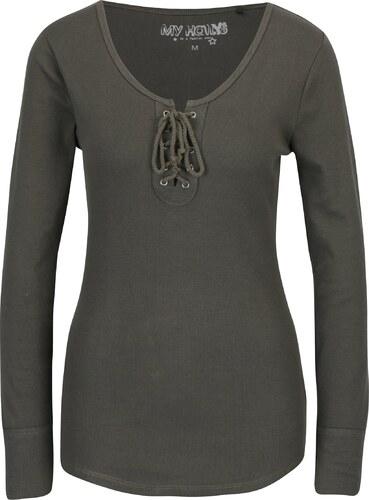 f288388e5cda Haily´s Kaki rebrované tričko so šnurovaním v dekolte Haily s Britta ...