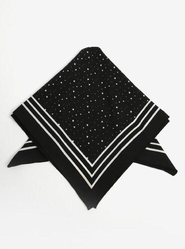 Černý vzorovaný šátek s pruhy Pieces Rachel - Glami.cz 4716ae87a1