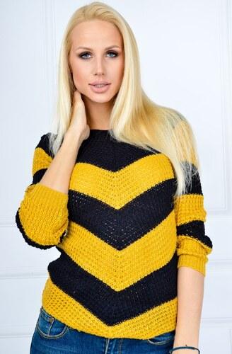 Pruhovaný černo-žlutý svetr - SWET11 - Glami.cz 6ca8f176c0