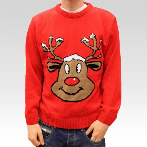 Swetry Swiateczne Pánský svetr se sobem Reindeer červený - Glami.cz 98b09fada6