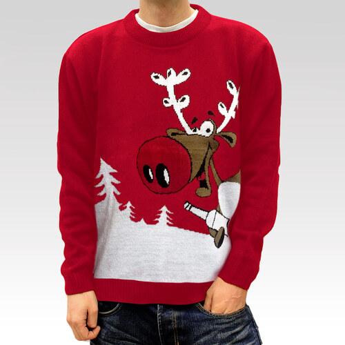 Swetry Swiateczne Pánský vánoční svetr se sobem Drunk Reindeer červený 5a60541134