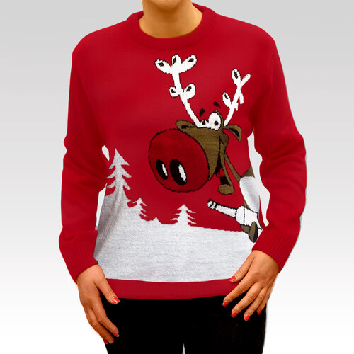 Swetry Swiateczne Dámský vánoční svetr se sobem Drunk Reindeer červený b6489fcc87