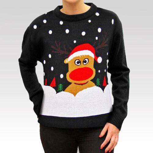 Swetry Swiateczne Dámský vánoční svetr se sobem Christmas Reindeer černý 00a652dda3