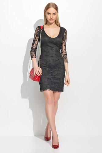 66b76cd2d14 Makadamia Dámské společenské šaty krajkové s 3 4 rukávem krátké černé
