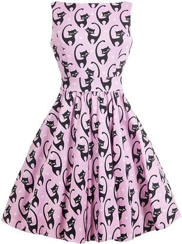 6d5c6266eb5f Růžové šaty s kočkami Lady V London Tea - Glami.cz