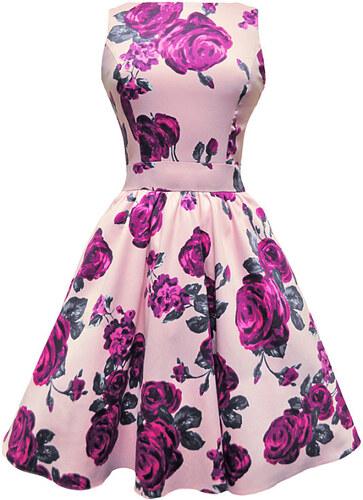 Růžové šaty s fialovými květy Lady V London Tea - Glami.cz b0277acea0