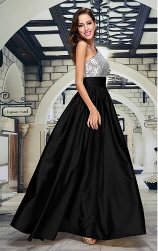 98ae27723932 Stříbrnočerné plesové šaty Seraphine - Glami.cz