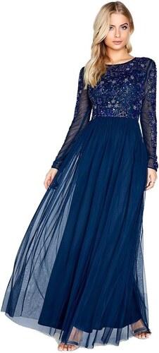 0681a56d9b24 LITTLE MISTRESS Modré spoločenské maxi šaty s dekorovaným topom ...