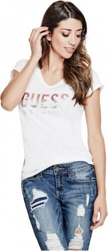 GUESS tričko Carai Glitter Logo Tee biele 11aa6a4f462
