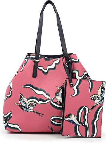Tommy Hilfiger oboustranná kabelka Super Tommy Tote Woodpecker Print Pink eb4e7388711