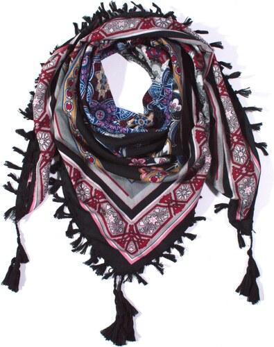 Y-wu Čtvercový šátek s třásněmi vzor 100cm 100cm 2F2-2783 ed03c1cf87