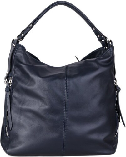 Talianske kožené luxusné kabelky cez plece tmavomodré veľké Amelia ... 1581a66c209