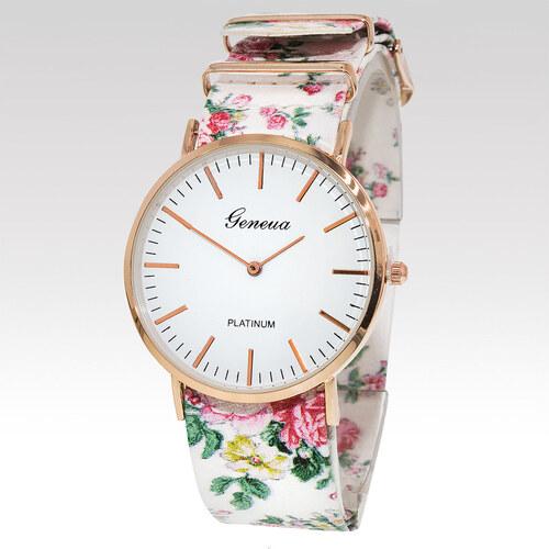 Geneva Dámské hodinky Rose bílé - Glami.cz db3905bc7a7