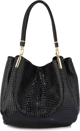 Anna Grace London Lakovaná černá kabelka s motivem hadí kůže Anna Grace  AG00243 b82fdceeef9