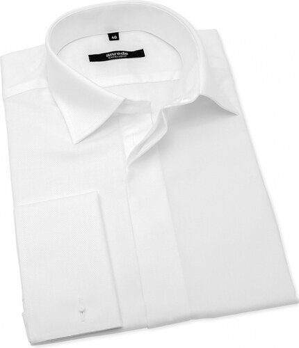 adf839b45ed4 Biela svadobná košeľa na manžetové gombíky ANREDE ANREDE 4930-39 194 ...