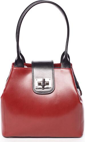 4a58a16d01e Menší módní dámská červeno černá kožená kabelka přes rameno - ItalY Zerro  červená