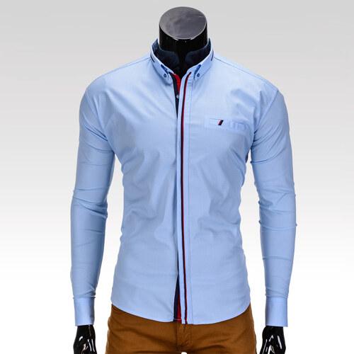 cbb4202bc829 Ombre Clothing Pánska košeľa slim fit Grier svetlomodrá - Glami.sk
