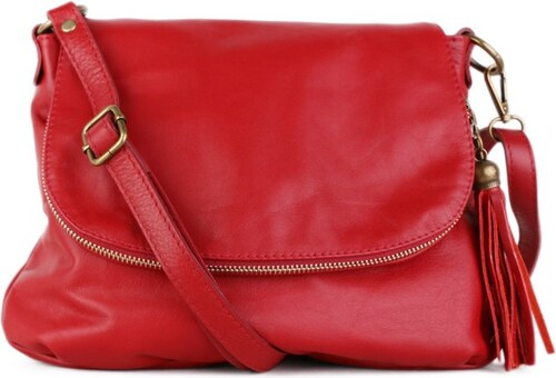 ITALSKÉ Trendová kožená kabelka crossbody z Itálie červená Angela ... b59b8534f08