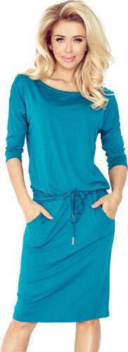 numoco Dámské sportovní šaty netopýří střih s kapsami na zavazování v pase  modré 6ffd104015