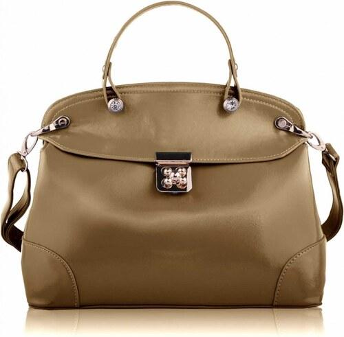 Dámská kabelka Mock Crok Satchel / LS Fashion - LS0051 - béžová barva