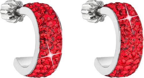 EVOLUTION GROUP Strieborné náušnice kruhy s krištáľmi Swarovski červené  polkruh 31118.3 siam 47ee7746755