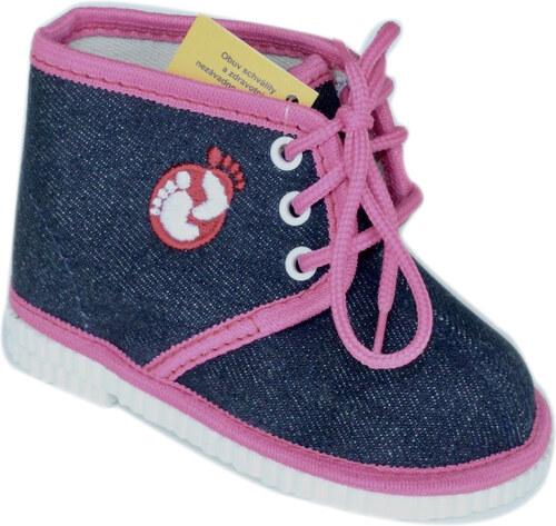 První krůčky Dievčenské členkové papučky s logom - modro-ružové ... 4085e06cc30