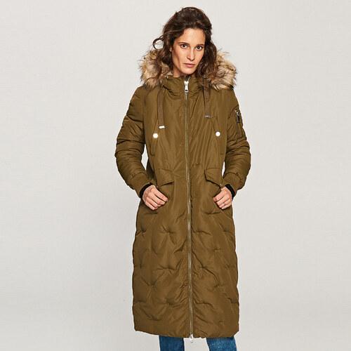 Reserved - Bélelt kabát kapucnival - Khaki - Glami.hu 6d24614e26