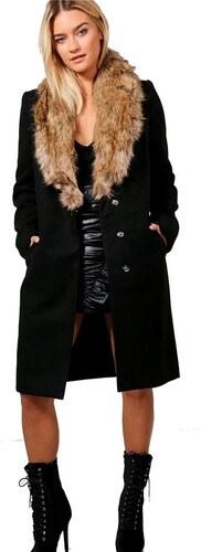 BOOHOO Čierny zimný kabát Júlia s kožušinovým golierom - Glami.sk ef7b2f023cc
