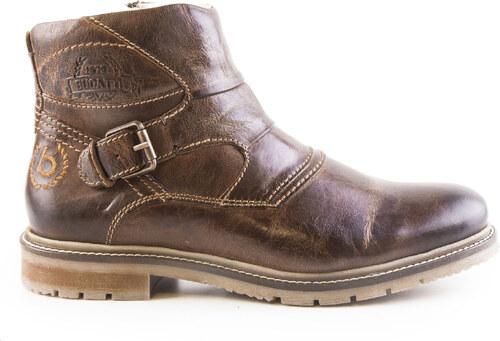 Bugatti - Pánské kožené kotníkové boty s kožichem a zipem K2952-1G   hnědá 56f42d4ec9
