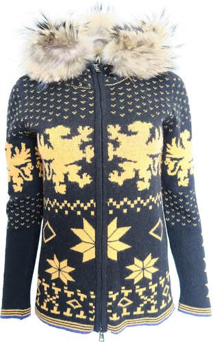 fb9ddc86d1b Norský svetr s kožešinovou kapucí Kelly by Sissy de Monte Carlo ...