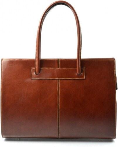 40cd463745 Kožená praktická tmavo hnedá veľká kabelka Business VERA PELLE ...