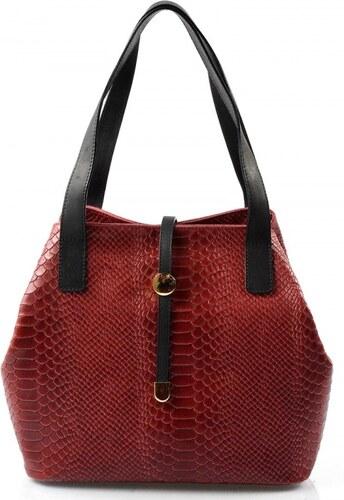 b0704feaef Kožená luxusná menšia vínová až červená kabelka Elen VERA PELLE ...