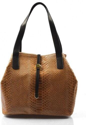 a1f40d4616 Kožená luxusná menšia béžová kabelka Elen VERA PELLE - Glami.sk