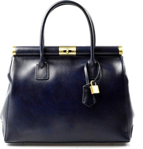 Kožená luxusná modrá kabelka Look VERA PELLE - Glami.sk e2fa7f8f542