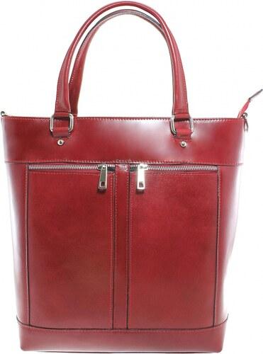 5333aa8412 Kožená luxusná vysoká červená kabelka do ruky Tall VERA PELLE - Glami.sk