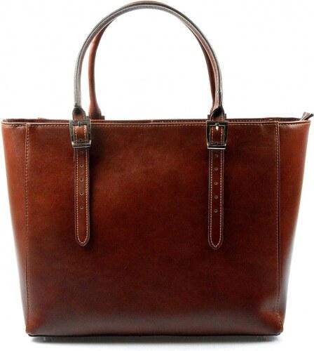 1d48d2f8fa Kožená luxusná veľká hnedá kabelka Havelan VERA PELLE - Glami.sk