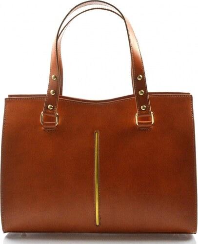 bcd854c452 Kožená luxusná koňakovo hnedá kabelka eleanora VERA PELLE - Glami.sk