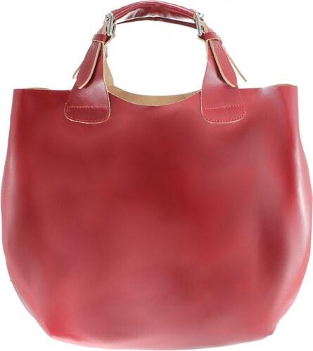 eecfbf2e62 Kožená červená bordó kabelka do ruky 2v1 sandi VERA PELLE - Glami.sk