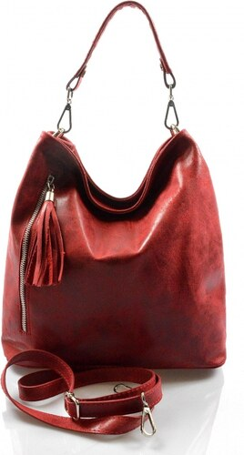 -15% -23% Kožená červená bordó crossbody kabelka cez rameno galine VERA  PELLE 946a090911d