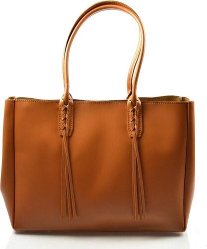 07d76fcbed -16% Kožená väčšia mahagonovo hnedá kabelka cez rameno 2v1 Zara VERA PELLE