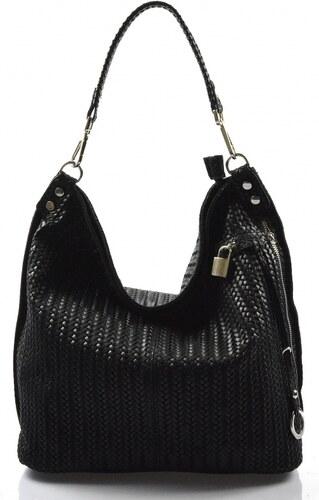 Kožená čierna veľká kabelka cez rameno Justin VERA PELLE - Glami.sk 1e3ca1f7b64