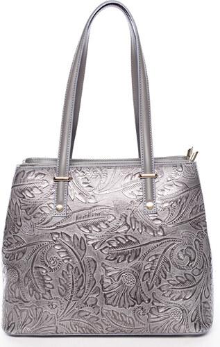 73f30a9b73 Exkluzivní dámská kožená kabelka tmavě šedá - ItalY Logistilla šedá ...