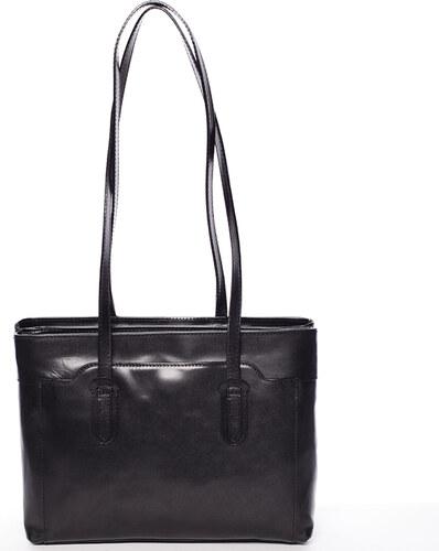 7ba27ccf237e Elegantná veľká dámska kožená kabelka čierna - ItalY Vilmaris čierna ...